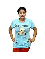 Odishabazaar Women's Cotton Imagedtoay Print Blue T-shirt S