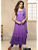 Anrkali Dress Brasso and Net Beautiful Purple Suit