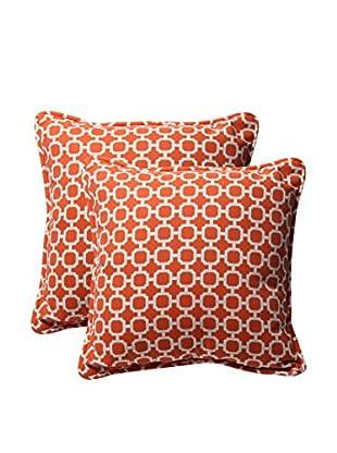 Pillow Perfect Set of 2 Indoor/Outdoor Hockley Throw Pillows, Orange