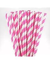 PrettyurParty Striped Paper Straw (Pack of 10) - Dark Pink