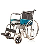 JSB W02 Imported Steel Wheelchair (Silver-Black)