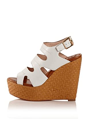 Modern Vintage Women's Lou Raffia Wedge (White)