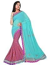 Kala Sanskruti Chiffon And Art Silk Bandhej Design Saree With Work [KSA3XI-41_Sea Blue And Pink]