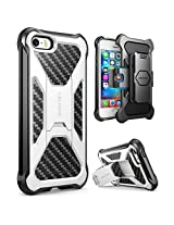 iPhone SE Case, i-Blason Prime [Kickstand] **Heavy Duty** [Dual Layer] Combo Holster Cover case with [Locking Belt Swivel Clip] for Apple iPhone SE 2016 Release (White)