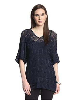 Cliché  Women's Crop Sleeve Horizontal Cable Sweater (Navy)