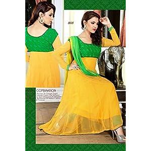 Designer Yellow And Green Lenth Floor Anarkali Suit