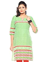 Purab Paschim women's Casual Printed VIBRANT GREEN Kurti