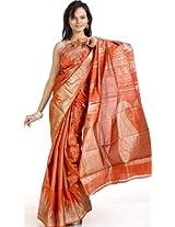 Rust Mysore Silk Sari with Giant Hand-woven Paisleys - Pure Silk