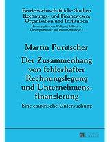 Der Zusammenhang Von Fehlerhafter Rechnungslegung Und Unternehmensfinanzierung: Eine Empirische Untersuchung: 96 (Betriebswirtschaftliche Studien)
