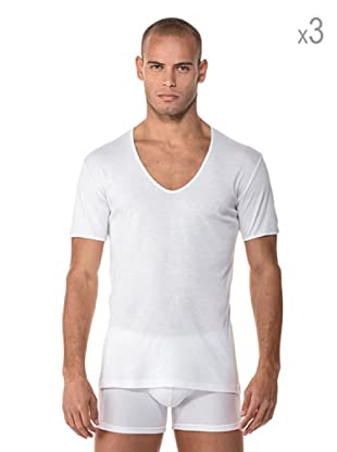 Anyma by Cotonella Pack 3 Camisetas Manga Corta Cuello Barco (Blanco)