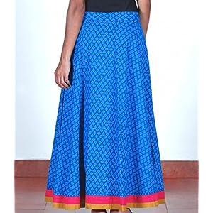 Blue block-printed wrap-around skirt