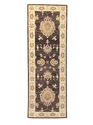 Bashian Rugs One-of-a-Kind Hand Knotted Mansehra Rug, Chocolate, 2' x 6' Runner