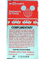 1980s Vintage Walt Disney World Resort Complimentary Car Parking Ticket