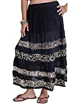 Exotic India Long Embroidered Skirt with Batik Print and Lace - Color Gray LilacGarment Size Free Size
