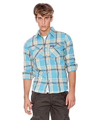 Superdry Camisa Manga Larga (Turquesa / Marrón)