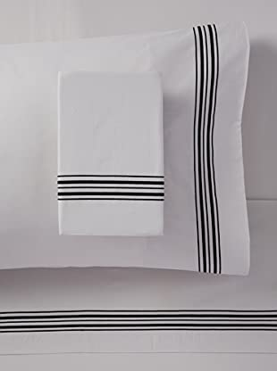 Mason Street Textiles Hotel Piping Sheet Set (Steel/Black)
