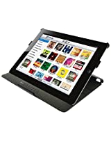Amzer 90814 Shell Portfolio Case - Black Leather Texture for Apple iPad 2