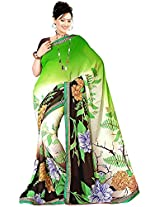 Shree Bahuchar Creation Women's Chiffon Saree(Skb39, Green and Black)