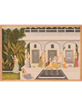 Exotic India Radha Krishna with Gopis (Kishangarh Style) - Water Color Painting on Paper