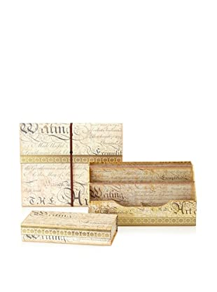 Punch Studio Desk Set: Expanding File, Desk Caddy Organizer, and Pencil Box (Calligraphy)