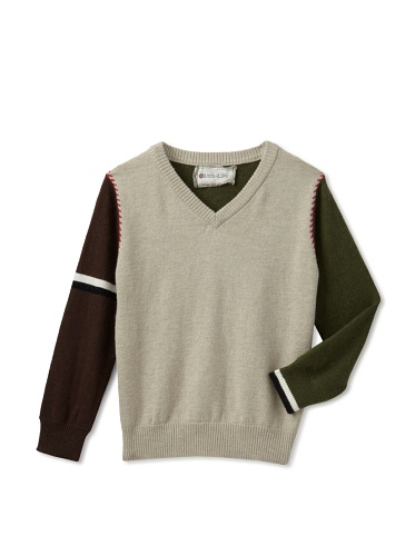 hitch-hiker Boy's V-Neck Sweater (Green/Brown)