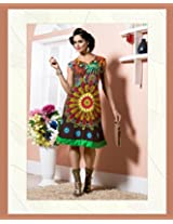 Cotton Embroidered Brown Frock Dress - 2009-B