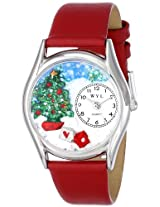 Whimsical Watches Women s S1220001 Christmas Tree Red Leather Watch
