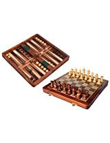 Crafts'man 2 In 1 Game Chess with Back Gammon Magnetic FOLDING Chess Board and Backgammon Set in Wood Box for kids- A beautiful & stylish birthday gift