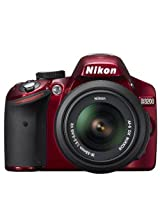 Nikon D3200 (with 18-55mm VR Kit) DSLR Camera with 24.2MP and 3 inch Screen (Red)