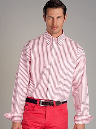 Hackett Camisa Rayas (Coral / Blanco)