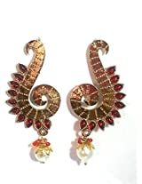Gold Plated Hook Earringss for Workwear Use, With Kundan Theme and Designer Collection
