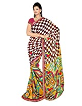 Shristi Fashion Georgette Embroidered Saree (567_Yellow Parrot Green)