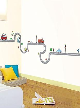 Vinilo Coches y carreteras para niños Multicolores
