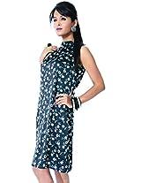 Garden Vareli Womens Satin Halterneck Dress (Gardenvareli Western Dress 1023-B _Black _Large)