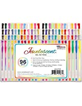 US Art Supply? Jewelescent? - 96 Gel Pen Set - Professional Artist Quality Gel Ink Pens in Vibrant Colors - Classic, Glitter, Metallic, Neon, Pastel & Swirl Colors - 100% Guarantee