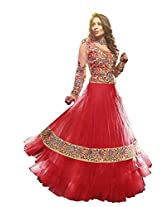 Vibes Women Georgette Salwar Suit Dress Material (V156-1001 _Red _Free Size)