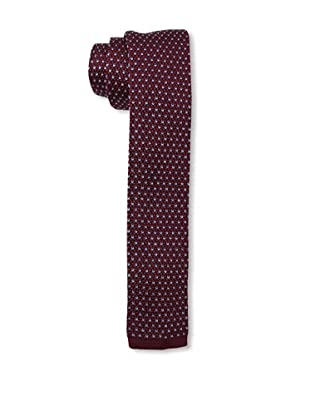 Desanto Men's Dot Knitted Tie, Bordeaux/Navy