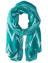 Saro Lifestyle Women's Ikat Printed Design Shawl, Turquoise, One Size