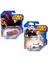 Star Wars Hot Wheels Car Set - Storm Trooper and Darth Maul