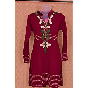 Rani Pink Colored Full Sleeves Winter Kurti With Lace Work by Indian Treasures Boutique