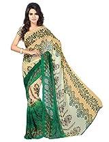 Chandra Silk Mills Beige Green Floral Print Daily Wear Saree