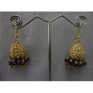 Mona Jewels Crystal Earrings in Gold and Purple