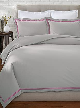 Mason Street Textiles Two Cord Duvet Set (Steel/Bright Pink)
