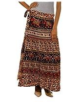 Fashiana Women Red and Brown Long Stylish Wrap Around Skirt