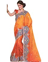 Ginger-Orange Wedding Sari with Heavy Patch Border and Self Weave - Art Silk