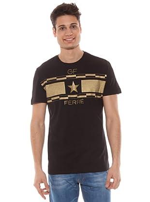 Gianfranco Ferré Camiseta Manga Corta Estampado (Negro/Dorado)
