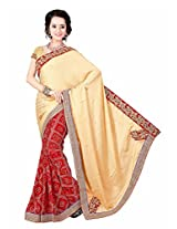 Bahubali Womens Half pettern silk with work and half bandhni with heavy emb lace and pettern blouse(85613_Cream and Red Colour Saree)