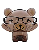 Bear Shape Eye Glasses Stand With Piggy Bank - Brown - Transparent Money Savings Kiddy Toy