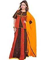 Exotic India Printed Lehenga Choli from Rajasthan with Mirrors and Piping - Color Red And BlackColor Free Size