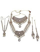 Exclusive Gold Plated White Crystal-Pearl Made Princess Look Bridal Necklace Set Indian Wedding Jewelry